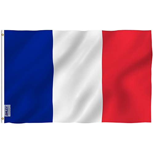 Bastille Place - Anley Fly Breeze 3x5 Foot France Flag - Vivid Color and UV Fade Resistant - Canvas Header and Double Stitched - French National Flags Polyester with Brass Grommets 3 X 5 Ft