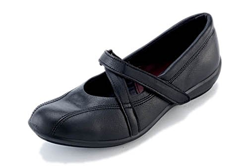 Black Women's Patent Velcro Wide 'Amelia' DB 6E Shoes Fitting wqfgx0TA