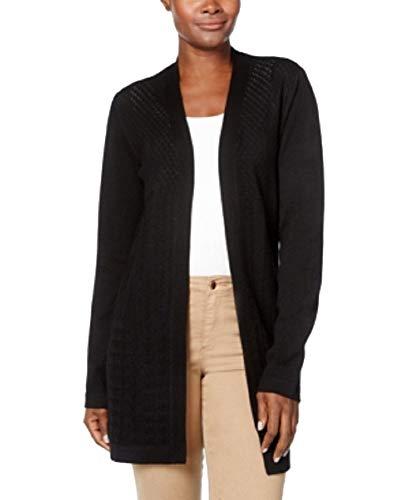 Karen Scott Petite Cardigan Sweater (Deep Black, PS)