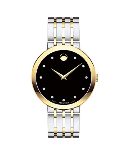 Movado Esperanza, Stainless Steel & Yellow PVD Case, Black Dial, Stainless Steel & Yellow Pvd Bracelet, Men, 0607191 ()