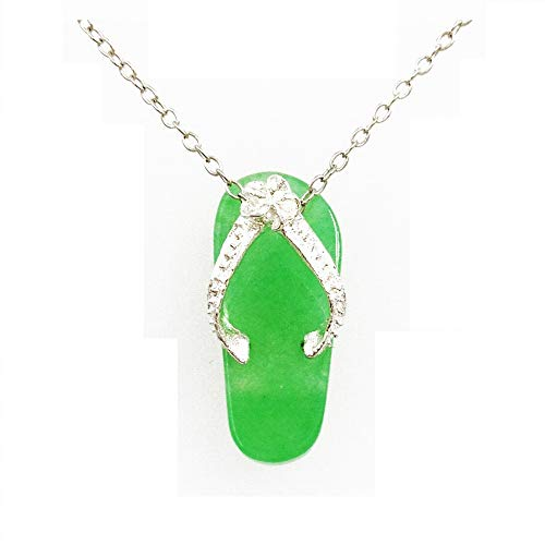 925 Solid Sterling Silver Real Green Jade Flip Flop Shoe Foot Pendant / Charm for Necklace or Bracelet