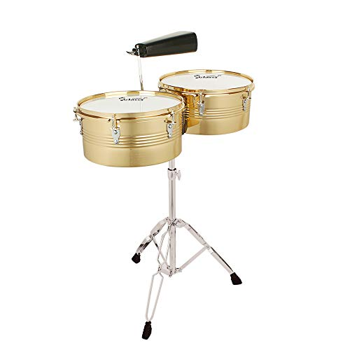 Kuyal Latin Percussion 13″ & 14″ Timbales Drum Set with Stand and Cowbell, Golden