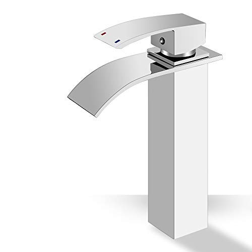 (ROVOGO Bathroom Sink Faucet with Waterfall Spout, Single Handle Brass Vessel Sink Faucet, Deck Mount Tall Body Commercial Basin Mixer Tap, Chrome)