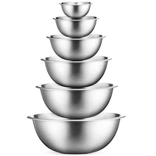 Premium Stainless Steel Mixing Bowls (Set of 6) Brushed Stainless Steel Mixing Bowl Set - Easy To Clean, Nesting Bowls for Space Saving Storage, Great for Cooking, Baking, Prepping - Mirror Finish Bowls