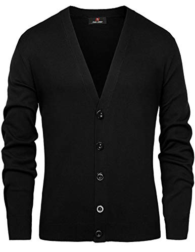 PAUL JONES Casual Button Placket V-Neck Knitted Cardigan Sweater for Men M Black