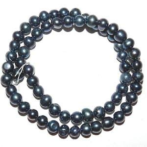 NP345 Black Peacock 6mm - 7mm Round Cultured Freshwater Pearl Gemstone Beads 15