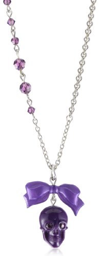 Tarina Tarantino Classic Deep Purple Skull Pendant Necklace On Dainty Chain