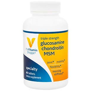 The Vitamin Shoppe Triple Strength Glucosamine Chondroitin MSM, High Potency Joint Structure and Mobility Supplement with MSM to Support Healthy Collagen for Joint Support (60 Capsules)