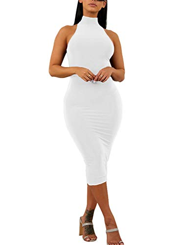 GOBLES Women's Sexy Halter High Neck Elegant Sleeveless Bodycon Midi Club Dress White