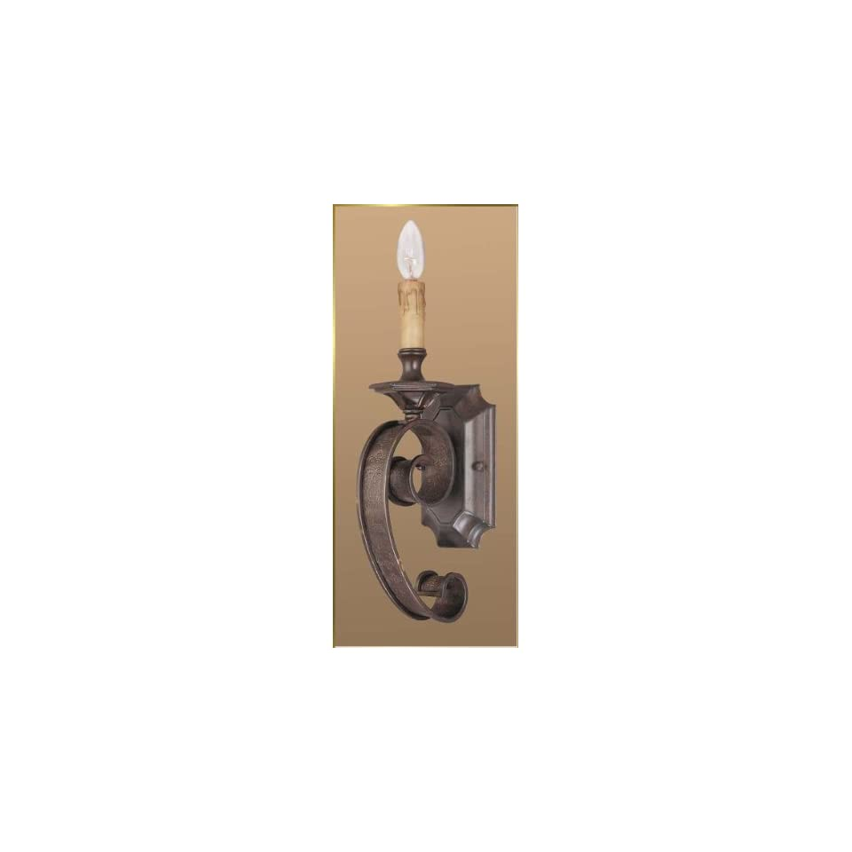 Wrought Iron Wall Sconce, JB 7319, 2 lights, Oiled Bronze, 5 wide X 20 high