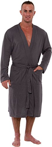 7b0666cf58 Ross Michaels Men s Lightweight Robe - Luxury Knit Sleep Jersey Bathrobe  w Tie Waist (Dark Grey