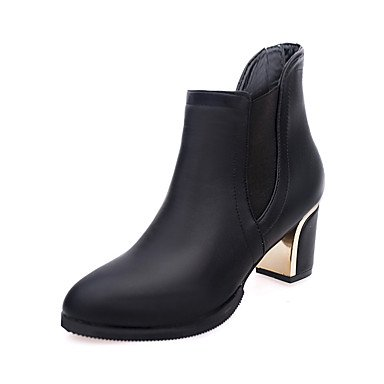 Boots For Chunky Black Career Gore US8 Booties Red Women'S Shoes UK6 amp;Amp; Ankle Winter Heel RTRY Boots Boots Pu Casual Office Fashion CN39 Fall Bootie EU39 CznOw