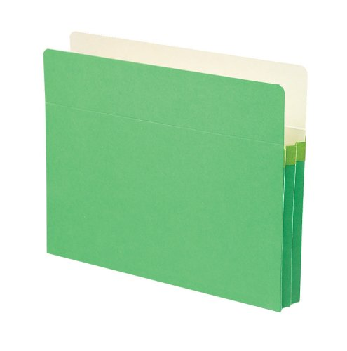 Smead File Pocket, Straight-Cut Tab, 1-3/4'' Expansion, Letter Size, Green, 25 per Box (73216)