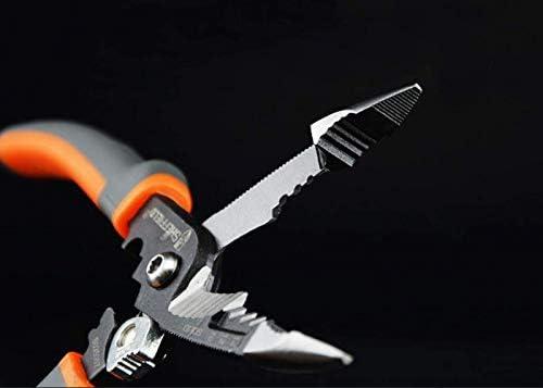 DXX-HR 、屋外の産業メンテナンス多目的ワイヤーストリッパーケーブルカッタースエードプライヤーセット(:赤みがかった黒、サイズ:21センチメートルカラー)であるホームの修復に適して