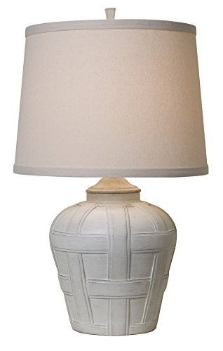 Thumprints 1175-ASL-2128 Seagrove Natural Shade Table Lamp, Distressed White Matte Finish -