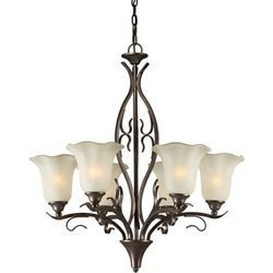 06-27 Transitional 5-Light Chandelier, Black Cherry Finish with Shaded Umber Glass by North Coast Lighting (Transitional Twenty Light Chandelier)