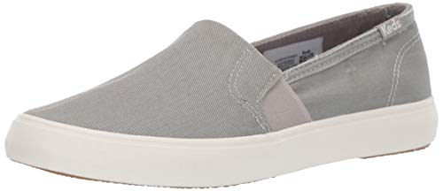 Keds Women's Clipper WASH Twill Shoe, Gray, 6.5 M US (Keds Womens Shoes)