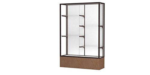 (Monarch Series Floor Display Case Frame Color: Dark Bronze, Base Color: Beige Stone, Case Backing: White Laminate )