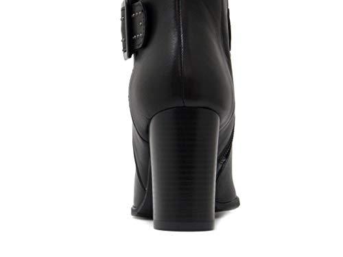 8 Donna Ag3014 Medio Con Cm Mercante Polpaccio Fiori Nero Alto Al Di Pelle Tacco Fibbia Stivale In qaT6wU7t