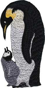 Novelty Iron on Patch - Animal Penguin Mom & Baby Applique