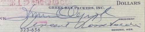 Vince Lombardi Signed Autographed Slabbed 1959 Green Bay Packers Check Auto Grade 10 Bas Certified Certified