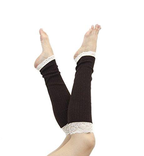Long Lace Rib Knit Leg Warmers (Brown) (Rib Boot Socks)