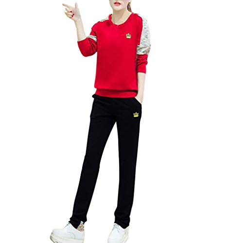 Women Split 2 Piece Tracksuit Long Sleeve Casual Long Pants Set Casual Printing Sportswear Red