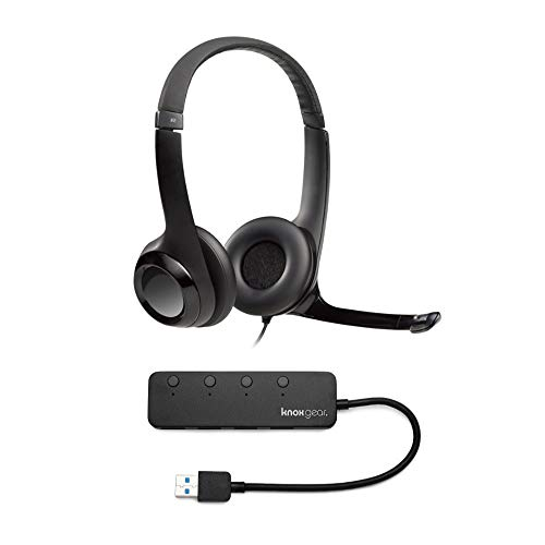 Logitech H390 USB Headset with Noise Cancelling Mic and Knox Gear 4 Port USB Hub Bundle (2 Items)