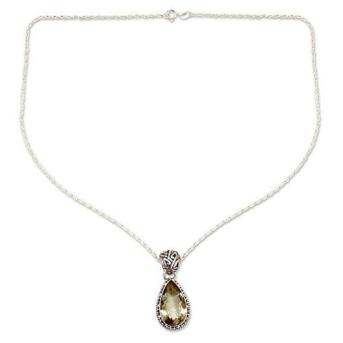 NOVICA Prasiolite .925 Sterling Silver Pendant Necklace, 17.75 , Verdant Mist
