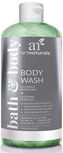 ArtNaturals Essential Bath and Body Wash - (12 Fl Oz / 355ml) - Tea Tree, Peppermint and Eucalyptus Oil - Natural Eczema Soap for Antifungal Feet, Nail Fungus, Athletes Foot, - White Body Scrub Tea