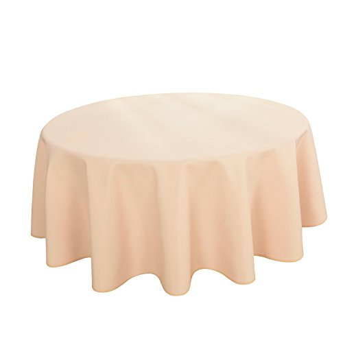 HIGHFLY Linen Round Tablecloth 60 Inch Waterproof Beige Tablecloth for Home Kitchen Dining room