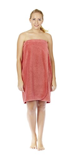(Arus Women's GOTS Certified Organic Turkish Cotton Adjustable Closure Bath Wrap L/XL Coral)