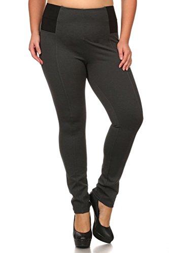 Bubble B Women's Plus Size Full Length Elastic Waist Pants One Size Charcoal 2X