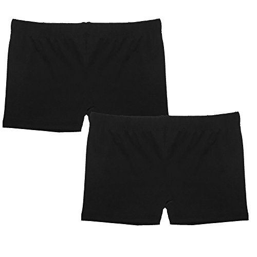 Popular Girl's Premium Playground Shorts - 2 Pack - All Black - S
