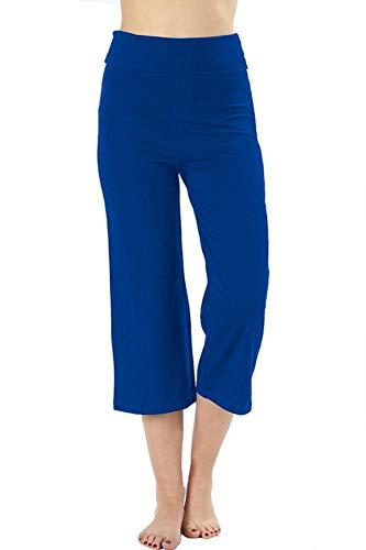 (Re.Born Womens Comfort Slim Gaucho Flare Capri Yoga Athletic Pants with Fold Over Waistband Sapphire XL)