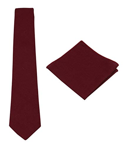 - Mens Solid Linen Tie Set : Necktie with Matching Pocket Square-Various Colors (Burgundy)