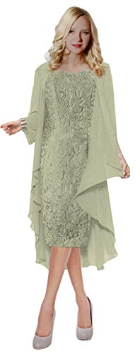 ThaliaDress Womens Lace Straps Mother of Bride Dress with Chiffon Shawl T107LF Sliver US6