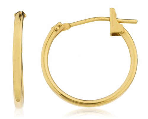 14k Yellow Gold Basic 14mm Click Hoop Earrings (GO-933) ()
