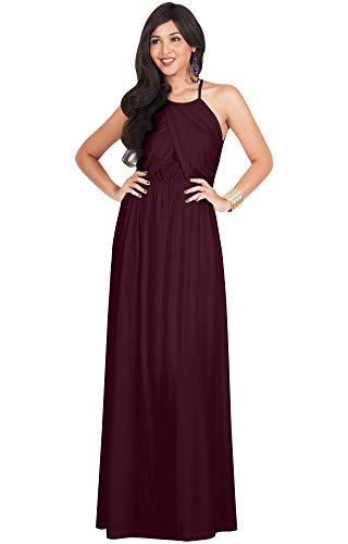 KOH KOH Womens Long Bridesmaid Sleeveless Cocktail Evening Prom Formal Special Occasion Floor-Length Beach Wedding Party Guest A-Line Flowy Gowns Maxi Dresses, Maroon Wine Red M 8-10