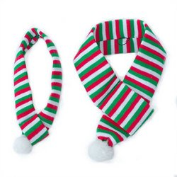ZippyPaws Holiday Red-White-Green Scarf - Dog Accessory (Small)