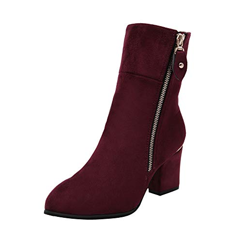 Boots Pointed Ankle Shoes Red Boots Heels Women Middle Heel Thick Boots Boots High NEEDRA w5qpBE6FCp