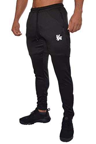 YoungLA Track Pants Men Workout Athletic Joggers Training Tapered Gym 205 Allbk XL