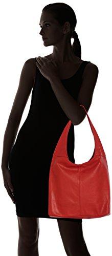 à fermeture main 100 éclair la dans Made Rosso cuir Italy 41x55x12cm in sac à Rouge en femme bandoulière CTM sac véritable vYXFqc