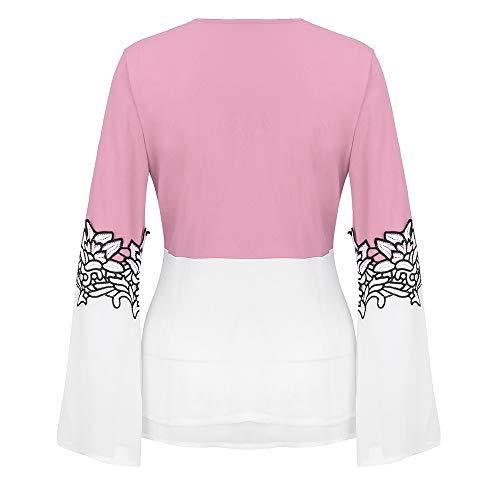 Impresa Mangas Camisas Finas Camiseta De Manera Las V La Camisa Mujeres Rosado collar Largas Luckycat 4qdvv