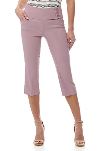 Rekucci Women's Ease into Comfort Wide Waist Capri with Back Lacing Detail (12,Lavender - Dinner Summer Mist