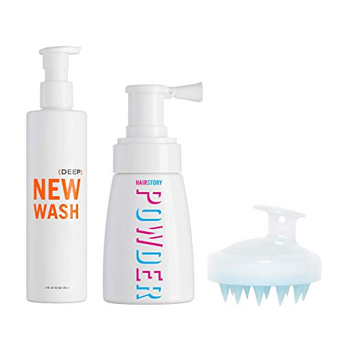 New Wash DEEP KIT - Hair Cleanser 8oz + Hair Powder 1.35oz + In-Shower Brush for Cleansing and Conditioning, Instant Hair Refresh and Volume