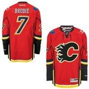 Calgary Flames #7 T.J. Brodie Reebok Premier Jersey (L) ()
