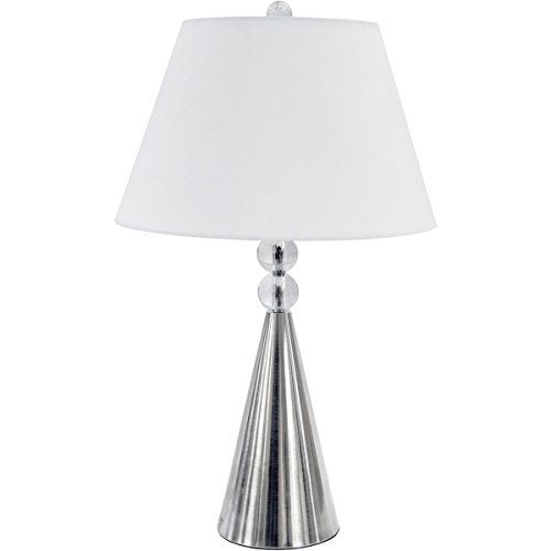 (Table Lamps 1 Light Bulb Fixture with Clear and Satin Chrome Finish Crystal and Steel Material 15