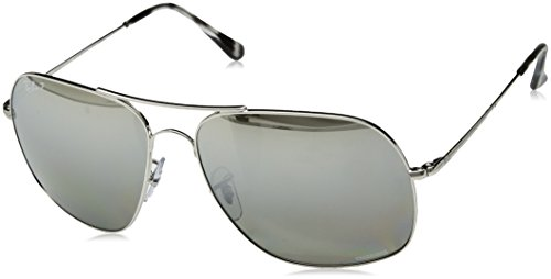 (Ray-Ban RB3587CH Chromance Mirrored Square Sunglasses, Shiny Silver/Polarized Silver Mirror Grey Gradient, 61 mm)