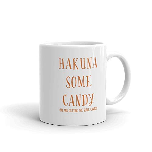 We Wix - Hakuna Some Candy Mug 11 Oz White Ceramic Glossy Unique Trick Treat Funny Halloween Movie Quote -